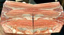 rawk11: Sarape Fantasy Jasper-2 Matching slabs-Red & White Patterns-Mexico!
