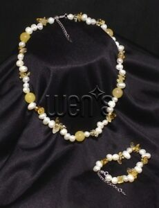 Girl's White and Yellow Freshwater Pearl Bracelet and Necklace Set