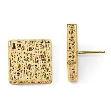 14k Solid Yellow Gold Square Design Diamond Cut Cable Twisted Post Stud Earrings