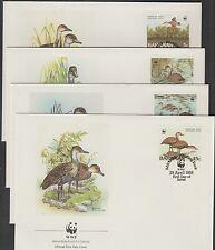 V1824 Bahamas/WWF 1988 uccelli MiNr 672/75 a 4 FDC
