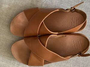 Fit Flop Ladies Brown Leather Sling back Sandals Size UK 5 Wedge Heel