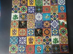 MEXICAN TALAVERA TILES x 50 ( 5cm x 5cm each tile ) set H with SKULLS