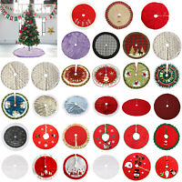 Long Plush Snow Flake Christmas Tree Skirt Base Floor Mat Cover Party Xmas Home