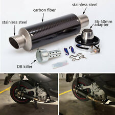 51mm Motorcycle Real Carbon Fiber Slip-On Exhaust Muffler Pipe Tip w/ DB Killer