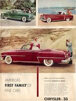 1953 Chrysler PRINT AD New Yorker Club Coupe Deluxe Newport Windsor Convertible