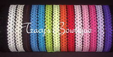 """15 Baby Toddler Girls Interchangeable Stretch 5/8"""" Open Lace Headbands for Bows"""