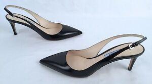 NEW!! PRADA 60 Pointy-Toe Leather Sandals-Black- Size US 9 /EU 40-$690-(J1)
