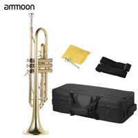 ammoon Trumpet Bb Flat Brass Gold-painted Exquisite with Gloves Strap Case A8W8