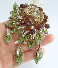 "Unique 3.94"" Brown Rhinestone Crystal Flower Daisy Brooch Pin Pendant 06454C3"