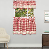 Gingham Stitch Live Laugh Love Kitchen Curtain Tier Pair or Valance Red