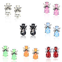 Cute Women Girls Rhinestone Crystal Flying Bear Ear Stud Earring Fashion Jewelry