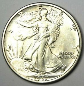 1917 Walking Liberty Half Dollar 50C - Choice AU / UNC MS Details - Rare!