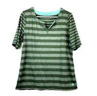 Talbots Green Striped Elbow Sleeve Soft Jersey V Neck Shirt Womens Size Medium