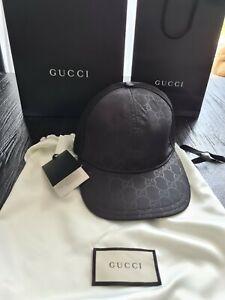 Gucci Black Double GG Logo BASEBALL CAP Size S Model 510950