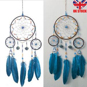 Blue Handmade Wall Hanging Retro Indian Traditional Circle Dream Catcher UK