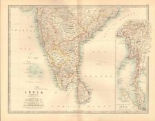 1891 ANTIQUE MAP -  INDIA, NSOUTH, CEYLON, SRI LANKA, BURMA,MALAYA,SUMATRA,MALAC