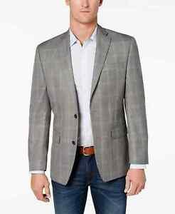 Michael Kors Kelson Men's Classic-Fit Plaid Patterned Sport Coat in Grey-44R