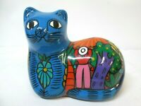 """Vintage Terracotta Hand Painted Cat Scenic Green Figurine Mexico 5.25"""""""