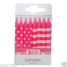 NEW POLKA DOTS AND STRIPES PRINT PINK CAKE CANDLES BIRTHDAY PARTY 16 CANDLE