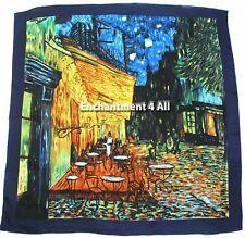"Handmade 35""x35"" 100% Silk Art Scarf Wrap w/ Van Gogh's ""Cafe Terrace At Night"""