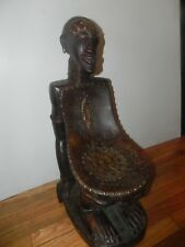 """Arts of Africa - Songye Chair - DRC Congo - 27"""" H X 10"""" W X 17"""" L"""