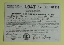 1947 Illinois Conservation Resident Hook & Line Fishing License Permit