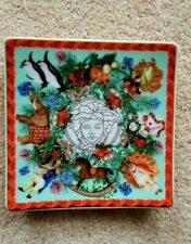 """VERSACE  BY ROSENTHAL, GERMANY  """"MERRY CHRISTMAS"""" TRAY. 3 1/2 inch. GORGEOUS"""