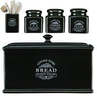 VINTAGE BLACK CERAMIC TEA COFFEE SUGAR JAR CANISTERS BREAD BIN KITCHEN STORAGES