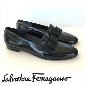 SALVATORE FERRAGAMO Men Black Patent Leather Loafer Tuxedo Dress Shoes Sz 10 D.