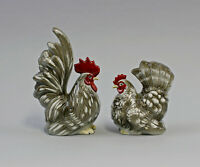 9942689 Porcelain Figurine Rooster and Hen/Chicken Grey White Wagner Apel H16cm