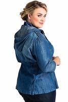 Standards & Practices Women's Plus Size Tencel Denim Zip Up Safari Hooded Jacket