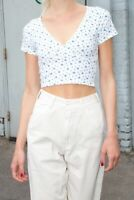 brandy melville cream/blue floral crop v neck crossover Amara top NWT sz XS/S