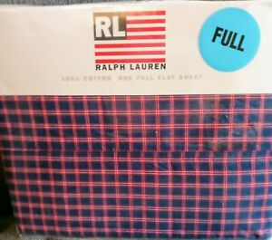 "NOS Vintage Ralph Lauren ""Mackinaw Plaid Blue"" Flat Sheet"