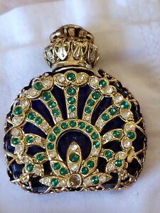 Vintage Blue Glass Bohemia Small Czech Republic Jeweled Filigree Perfume Bottle