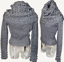 Galliano Christian Dior Gray cable knit oversized neck Pom Pom Details Sweater