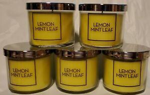 5 ~ LEMON MINT LEAF Candles ~ Bath & Body Works ~ Fast Free Shipping