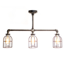 Three Bulb Trident Industrial Pipe Light With Cages and Edison Bulbs Whiskertin
