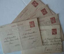 FRANCE 2GM-Lot de 5 CARTES « ENTIER POSTAL » IRIS au flambeau 80c datées 1941 (1