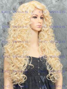 Long Full Spiral Curls Heat OK Lace Front Human Hair Blend Wig Light Blonde EVFK