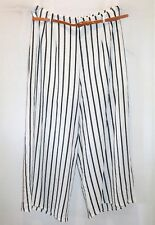 VALLEYGIRL Brand White Black Stripe High Waist Pants w Belt Size 10 BNWT #TL47