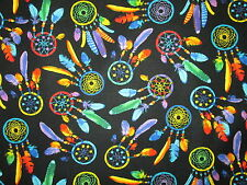 DREAM CATCHERS NATIVE AMERICAN BRIGHT COLORS COTTON FABRIC BTHY