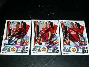 MANCHESTER UNITED SIGNED AUTOGRAPHED MATCH ATTAX FOOTBALL CARDS X3