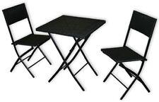 KMH® Polyrattan Cafe-Set Balkonset Bistroset Sitzgruppe Balkonmöbel schwarz