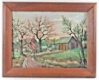 Original Folk Art Farmyard Oil Painting Farm Signed 1962 Grandma Moses Style VTG
