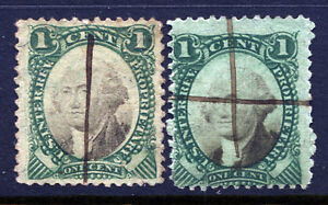 RB1a and RB1b, 1 cent Proprietary Violet and Green Papers - Revenue