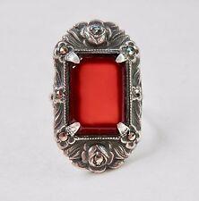 Art Deco Ring Red Carnelian Sterling Silver Marcasites Art Nouveau Vintage 925