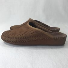 La Plume Women's Sz 38 Tan Brown Genuine Leather Backless Loafers Mules Italy
