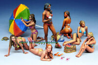 1/35 Scale 7pcs Summer Beach Beauty Girls Figure Model Unpainted Garage Kits NEW