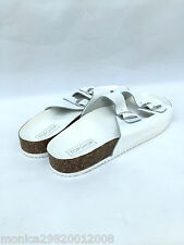 TOPSHOP WHITE FANCIE DOUBLE BUCKLE FLAT SANDALS SIZE UK7/EUR40/US9