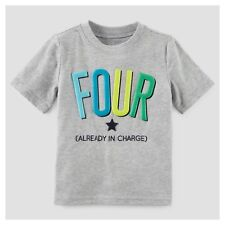 ~NEW~ 4th Birthday FOUR Baby Boys Shirt 4T Gray 4 Years Gift! SS Carters Party